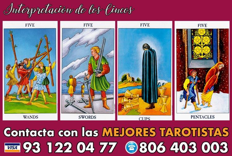 Significado de los Cincos en tarot - curso de tarot
