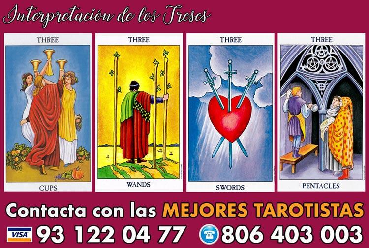 Significado de los Treses en tarot - curso de tarot