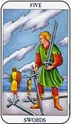 cinco de espadas - cincos de los arcanos menores del tarot - curso de tarot