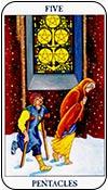cinco de oros - cincos de los arcanos menores del tarot - curso de tarot