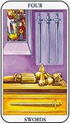 cuatro de espadas - cuatros de los arcanos menores del tarot - curso de tarot