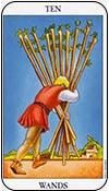 diez de bastos - dieces de los arcanos menores del tarot - curso de tarot