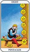 ocho de oros - los arcanos menores del tarot - curso de tarot
