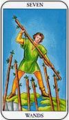siete de bastos - sietes de los arcanos menores del tarot - curso de tarot