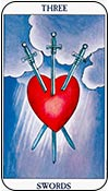 tres de espadas - treses de los arcanos menores del tarot - curso de tarot